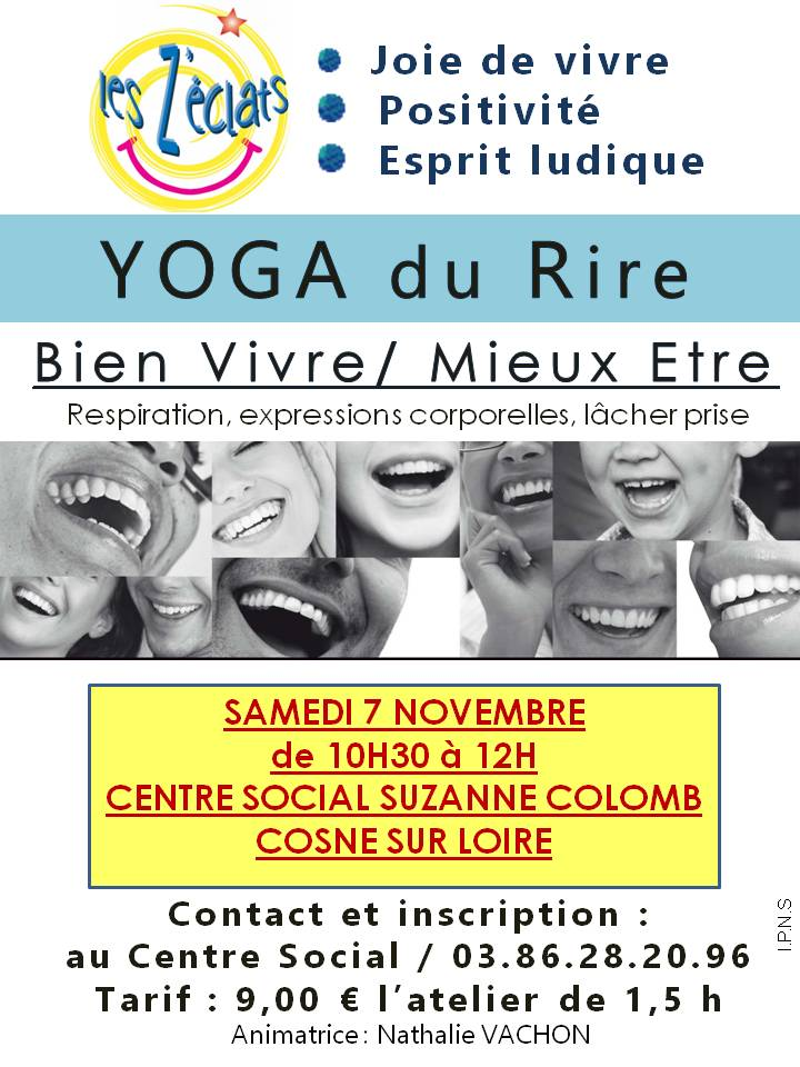 atelier yoga du rire samedi 7 novembre 10h30 centre social et culturel suzanne coulomb. Black Bedroom Furniture Sets. Home Design Ideas