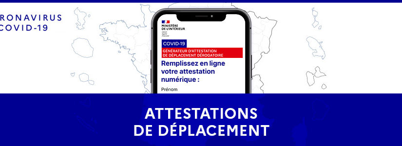 NOUVELLES ATTESTATIONS DE DÉPLACEMENTS DÉROGATOIRES